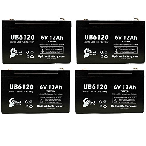 4x Pack - UB6120 Universal Sealed Lead Acid Battery Replacement (6V, 12Ah, 12000mAh, F1 Terminal, AGM, SLA) - Includes 8 F1 to F2 Terminal Adapters - Compatible with ATLITE PS6100, Alaris Medical Infusion Pump 800 Series, B&B Bp12-6, Cf 8k2u, Csb/Prism Gp by UpStart Battery