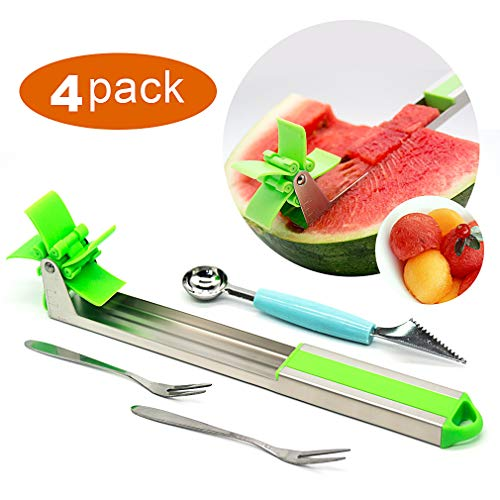 Stainless Steel Watermelon Slicer,Hand Manual Melon and Cantaloupe Fruit Slicer, Carver, Cutter, Knife-Easy Grip Kitchen Carving and Cutting Gadgets for Home, Professional Restaurant Chefs