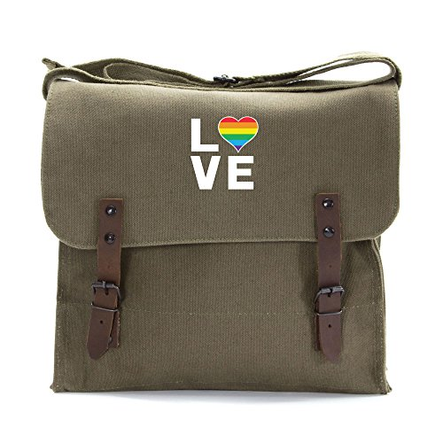 LGBT Love (Rainbow Heart) Army Heavyweight Canvas Medic Shoulder Bag in Olive & White by Grab A Smile