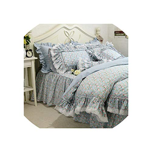 (New Fresh Flowers Print Bedding Set Lace Ruffle Duvet Cover Quality Embroidery Bed Sheet Pastoral Bed Skirt Bedspread Bedding,Flower Bedskirt Type,Twin)