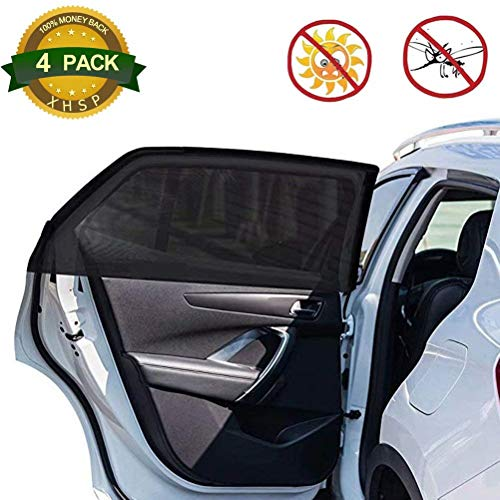 Price comparison product image XHSP 4 Pack Front & Rear Car Sun Shade Car Sunshade Protector Breathable Mesh Sun Shield for Anti Mosquito Bug Protect You from Sun Glare and Heat