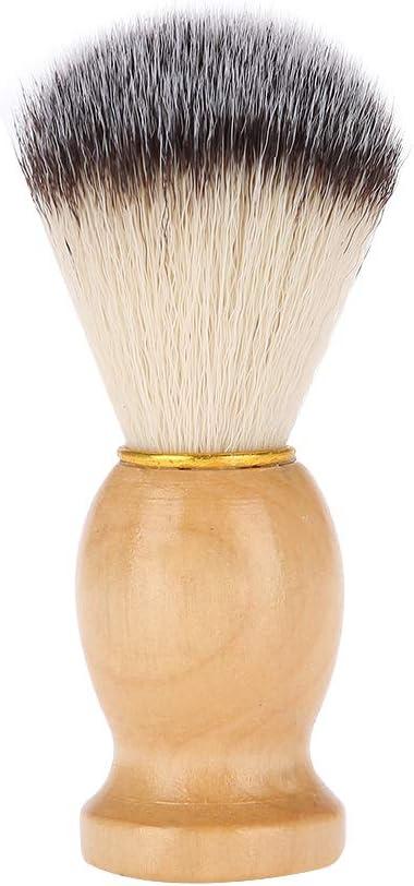 Cepillo de barba, hombres portátiles Pelo sintético suave Mango de madera Brocha de afeitar de barba Herramienta de peluquería para peluquería Herramienta de aseo para el cuidado de la barba para viaj