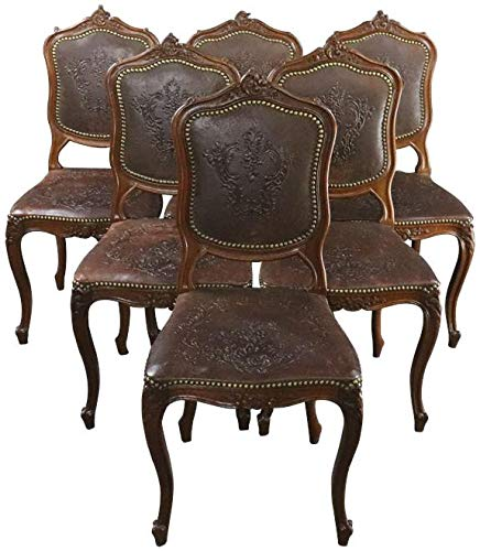(EuroLuxHome Dining Chairs Louis XV Rococo Walnut Leather Vintage French 1930 Set 6)