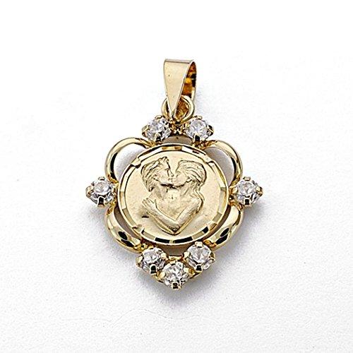 Pendentif 20mm or 18k amour de la médaille. amour zircons [7944]