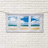 Chaneyhouse Beach,Sports Ttowel,Beach House Window Overlooking Ocean View Sunshine and Sandy Cloudscape,Absorbent Towel,Blue Teal Sand Brown Size: W 12'' x L 35.5''