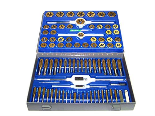 GHP 86pcs Tap and Die Tungsten Steel Titanium SAE/METRIC Combination Set Tools