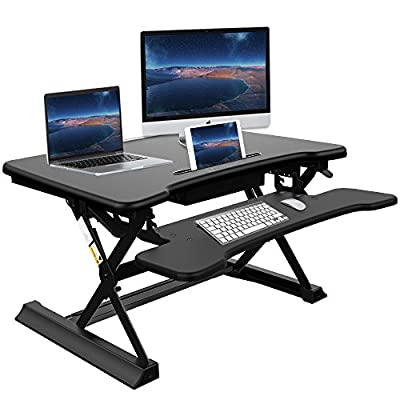 Riser Desk Standing Desk with Drawer - Ansteker 35''Wide Platform Unlimited Height Adjustable Sit Stand Desk with Keyboard Tray, Fits Dual Monitor Stand Desk Computer Workstation