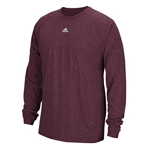 Adidas Climalite Mens Long Sleeve Training Tee M Maroon Heathered - Adidas Lightweight T-shirt