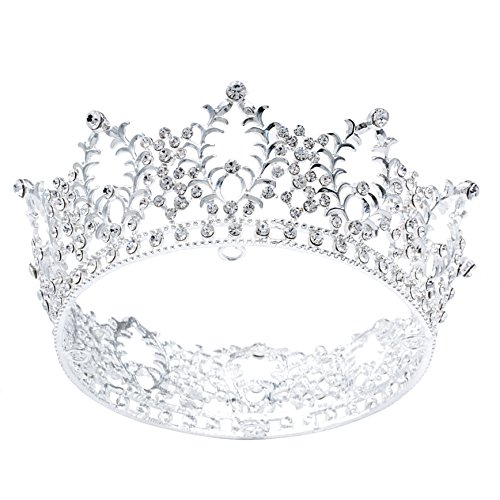 Cake Topper Crown Fancy Party Cake Decoration Princess and Prince Headpiece(Silver) ()
