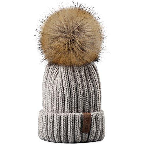 Kids Winter Knitted Pom Beanie Bobble Hat Faux Fur Ball Pom Pom Cap Unisex Kids Beanie Hat,Grey,One Size