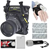 DiCAPac WP-S5 Waterproof Underwater Housing Case with LP-E8 Battery + LED Torch & Handstrap Kit for Canon EOS Rebel T3i, T4i, T5i Digital SLR Cameras