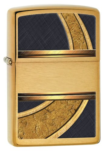 Zippo Windproof Brushed Brass Lighter, Gold & Black, 28673, New In (Halloween By The Name Iron Maiden)