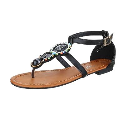 Ital-Design Zehentrenner Damenschuhe Peep-Toe Blockabsatz Zehentrenner Sandalen/Sandaletten