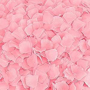 Rose Petals 300 Count Fabric Artificial Fabric Flower for Valentine Ceremony Wedding or Home Hotel Garden Bouquet Party Decorations (Pink) 94