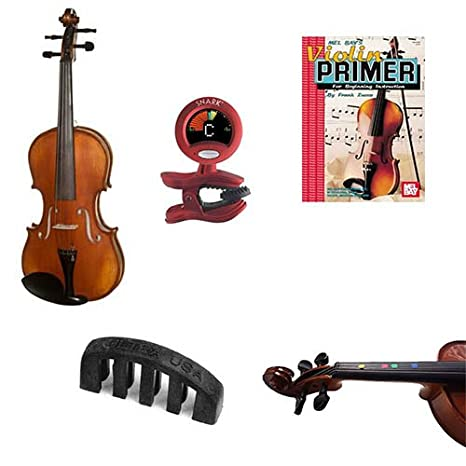 ... para principiantes Pack Color tamaño completo violín, dedo Marcadores, violín primer libro, sintonizador y silencio: Amazon.es: Instrumentos musicales