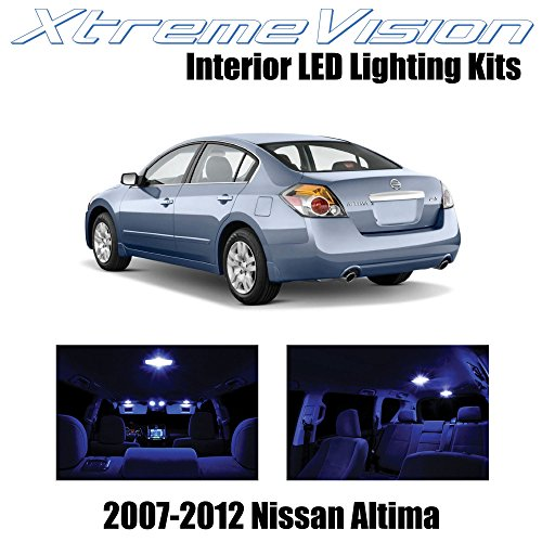 XtremeVision Nissan Altima Sedan 2007-2012 (10 Pieces) Blue Premium Interior LED Kit Package + Installation Tool Tool