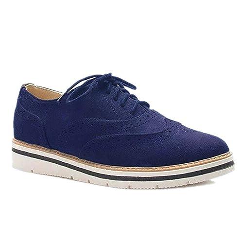 Zapatos Planos con Cordones Mujer Brogue Zapato Talón Plano Gamuza Colores Manera Tallas Grandes Botas Negro Rosa Gris Azul Marrón 35-43: Amazon.es: Zapatos ...