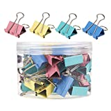 Pack of 48 Binder Clips - Binder Clips, Small Office Binder Clips for Office Work, Archive Work, Document Organizing, Pink, Yellow, Teal, Blue Colors - 1 x 1.7 Inches