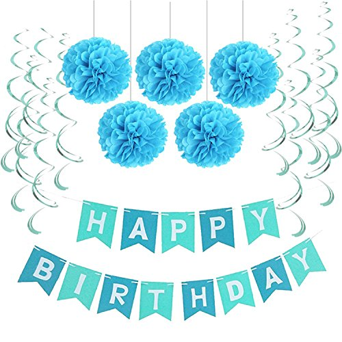Gouache First Birthday Party Paper Decoration Set Happy Birthday Banner Hanging Swirls Pom Poms Boy Girl Party Favors Blue Pink Style 25 by Gouache (Image #2)