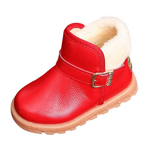 Jinjiu Boys Girls Snow Boots Winter Warm Fashion Children Thick Buckle Shoes (23(foot length:14.5cm), Red) ()