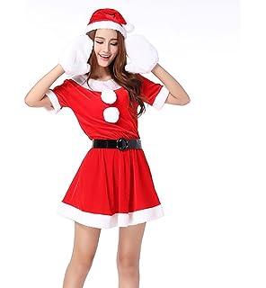 MissFox Costume Babbo Natale Donna Carnevale Travestimento Manica Corta 7cd26f9653b