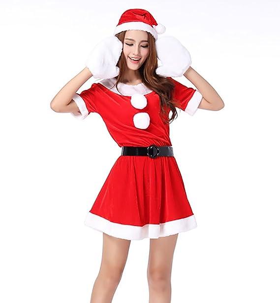 MissFox Costume Babbo Natale Donna Carnevale Travestimento Manica Corta  Rosso  Amazon.it  Abbigliamento 2ee8efa3b34