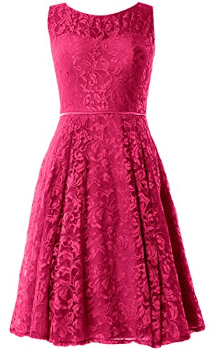 Lace Dress Fuchsia Formal Length Vintage Women Party Knee Wedding Cocktail Macloth Gown UZTSqS