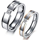 "VALYRIA Jewelry ""My Love"" Cubic Zirconia Stainless Steel Wedding Band/Anniversary/Engagement/Promise/Couple Ring ,Men's (9)"