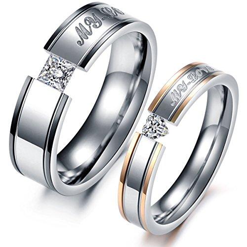 Valyria Bijoux Bague Anneau en Acier Inoxydable Fantaisie Diamant Incruste Coeur pour Couple