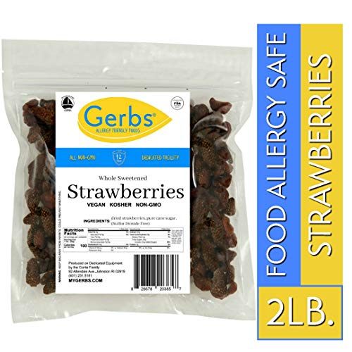 Gerbs Dried Strawberries 2 LBS  Unsulfured amp Sweetened  Top 14 Food Allergy Free amp NON GMO  Grown in USA