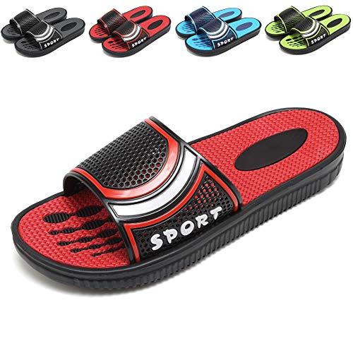welltree Mens Slides Bathroom Shower Sandal Shoes Indoor Home Outdoor Garden Beach Pool Slip on Slippers 7 D(M) US Men / 40 Red1