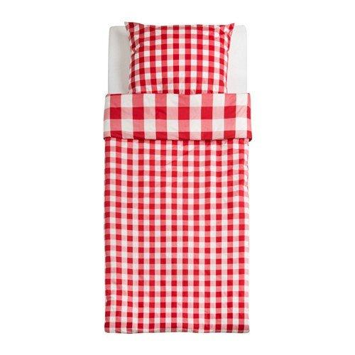 Ikea sved fijo Juego de ropa de cama en color rojo; cuadros ...