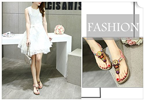 Women's Bling Crystal Rhinestone Silver Flip Flops Flat Sandals Ankle Strap Open-Toe Shoes in Bohemian Style by INNICON (Image #5)