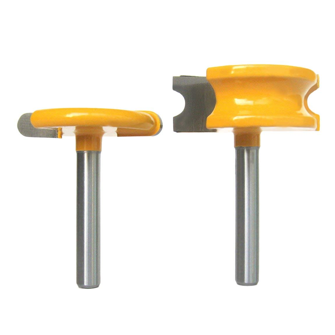 2pcs/Set Practical 1/4'' Shank 1/4'' Dia Canoe Flute and Bead Router Bits Set for Woodworking High Hardness Cutting Tool - Yellow&Silvery SeniorMar