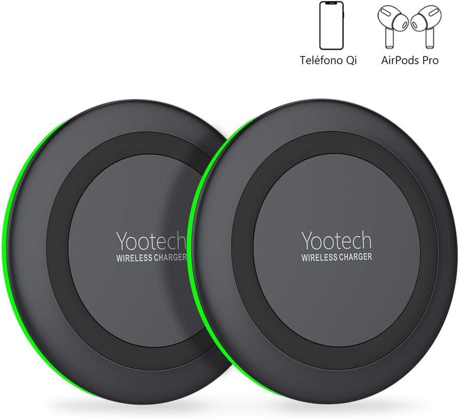 yootech Cargador Inalámbrico Rápido, 2 Pack 7.5W para iPhone SE 2020/11/11 Pro/11 Pro MAX/XS MAX/XR/XS/X/8+/8,10W para Galaxy S20/S20 Ultra/Note 10+/S10/S10E/S9/Note 8/S8, AirPods Pro(No Adaptador)