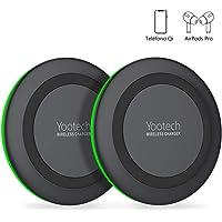 yootech Cargador Inalámbrico Rápido 2 Pack Qi 7.5W para iPhone SE 2020/11/11 Pro/11 Pro MAX/XS MAX/XR/XS/X/8/8+,10W para Galaxy S20/Note 10/S10+/S10E/S9/S9+/Note 8/S8/S7/S6, AirPods Pro(No Adaptador)