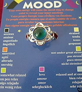 Mood Ring   Flower Shaped; On A Card With Colour Coded Chart Telling You  Your