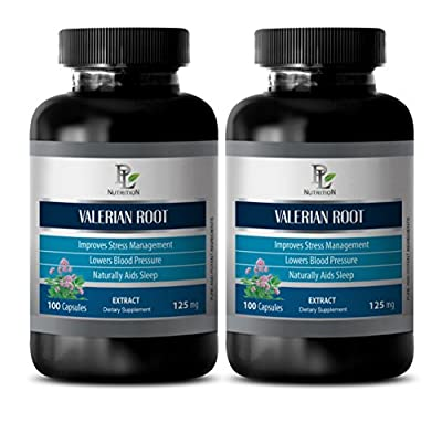 Nerve support formulation - VALERIAN ROOT EXTRACT 125 MG - Valerian herbal supplement - 2 Bottle 200 Capsules