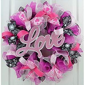 Valentine Wreath | Valentine's Day Wreath | Love Mesh Door Wreath; Black Pink White 116