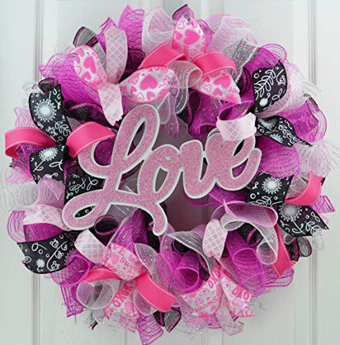 Valentine Wreath | Valentine's Day Wreath | Love Mesh Door Wreath; Black Pink White -