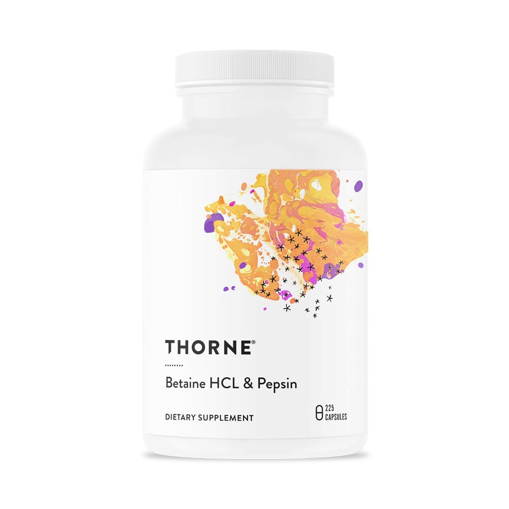 Thorne Research - Betaine HCL & Pepsin - Digestive Enzymes for Protein Breakdown and Absorption - 225 Capsules by Thorne Research