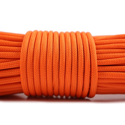PSKOOK Survival Paracord Parachute Fire Cord Survival Ropes Red Tinder Cord PE Fishing Line Cotton Thread 7 Strands Outdoor 20, 25, 100 Feet (Orange, 100) by PSKOOK (Image #3)