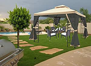 J&Y 10 Ft. W x 10 Ft. D Steel Gazebo with Mosquito Netting