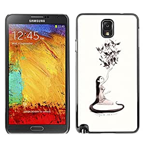 A-type Colorful Printed Hard Protective Back Case Cover Shell Skin for SAMSUNG Galaxy Note 3 III / N9000 / N9005 ( Nature Love Art Girl Birds Long Hair Art Drawing )