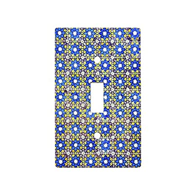 Italian Tile Floral Blue - Decor Switch Plate Cover Metal