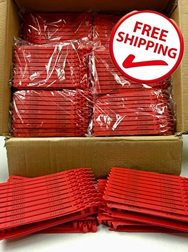1,000 Red Plastic Seals Security Numbered - Trucker or Trailer For standard containers truck – vans – doors – airline – duty-free shops – supermarkets – storage-controlling by AVG Packaging Supplies