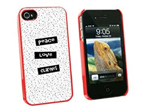 Graphics and More Peace Love Clarinet - Snap On Hard Protective Case for Apple iPhone 4 4S - Red - Carrying Case - Non-Retail Packaging - Red