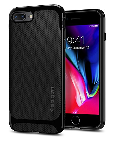 Price comparison product image Spigen Neo Hybrid Herringbone iPhone 8 Plus Case / iPhone 7 Plus Case with Hard Bumper Frame for Apple iPhone 8 Plus (2017) / iPhone 7 Plus (2016) - Black & Shiny Black
