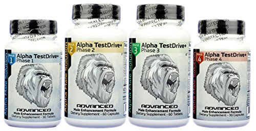 4 Month Supply Alpha TestDrive+ - All Natural Male Enhancement Formula including all four unique phases for optimal performance and size gains by Alpha Industries