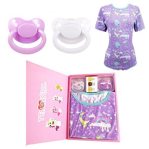 TEN@NIGHT Adult Baby Onesie Bodysuit ABDL Diaper Lover with 2 Adult Pacifier (2XL)
